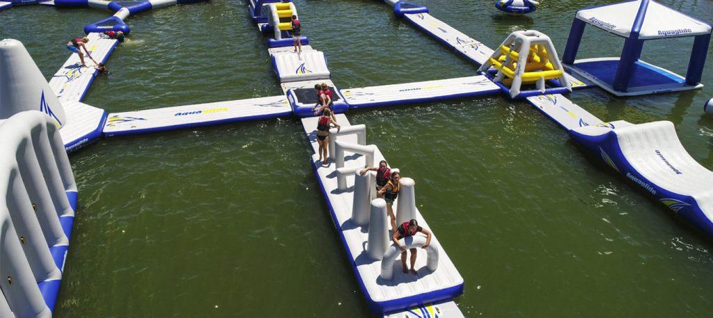 People running through Aquaglide blockade