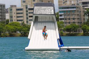 A man on a Freefall-supreme waterslide.