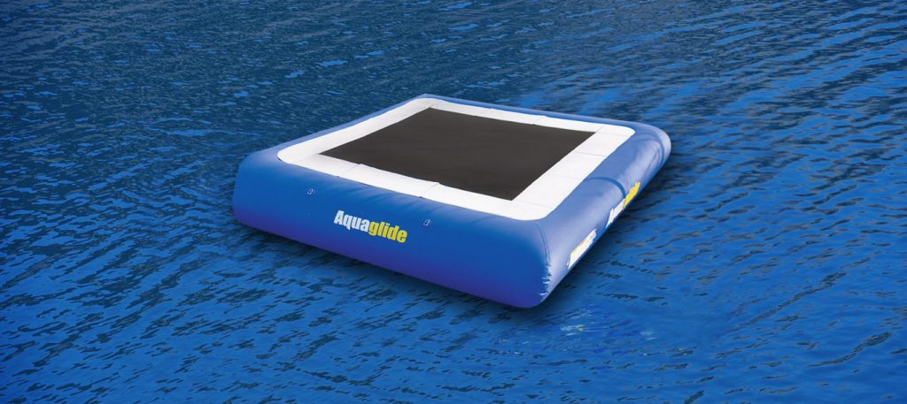 An Aquaglide inflatable trampoline.